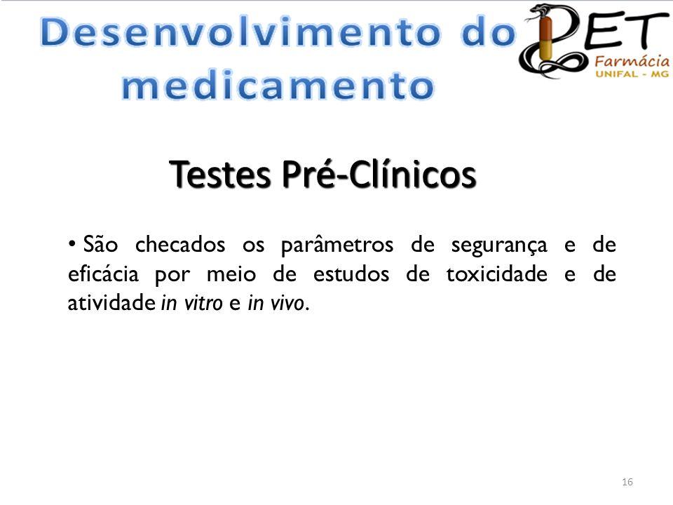 Testes Pré-Clínicos • São checados os parâmetros de segurança e de eficácia por meio de estudos de toxicidade e de atividade in vitro e in vivo. 16
