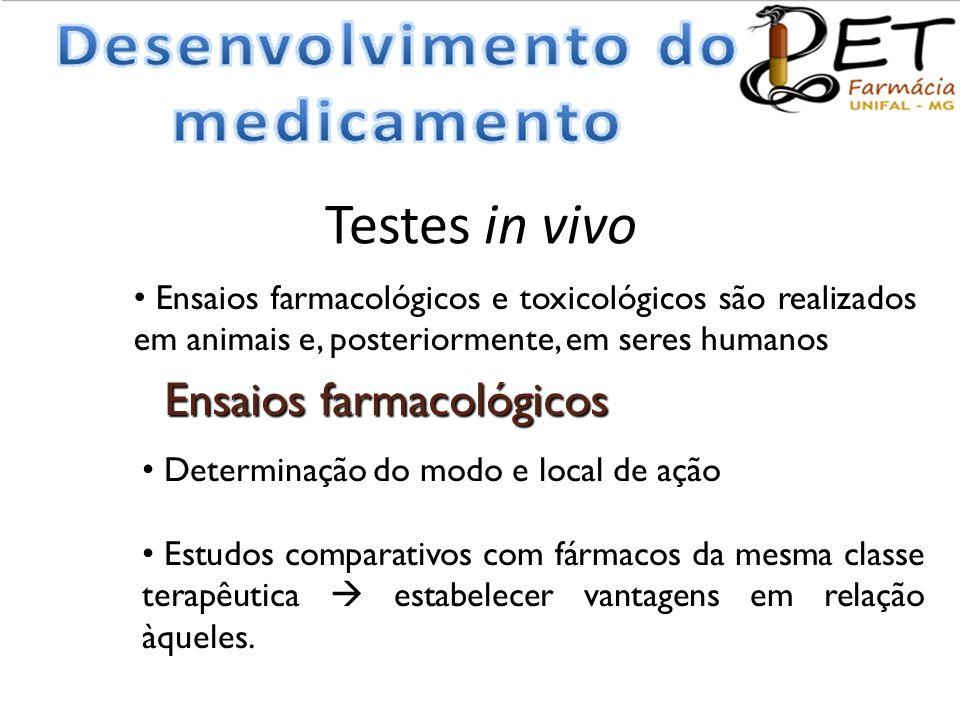 Testes in vivo • Ensaios farmacológicos e toxicológicos são realizados em animais e, posteriormente, em seres humanos Ensaios farmacológicos • Determi