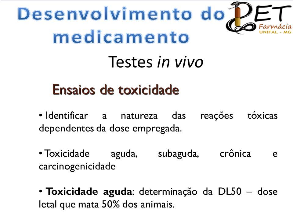 Testes in vivo • Identificar a natureza das reações tóxicas dependentes da dose empregada. • Toxicidade aguda, subaguda, crônica e carcinogenicidade •