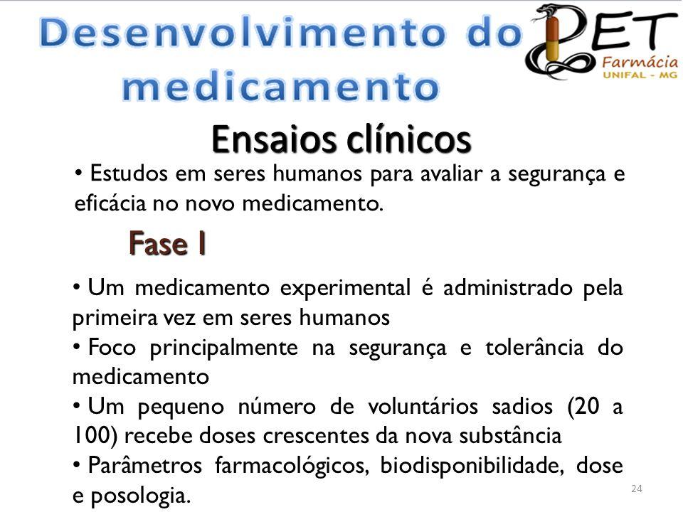 Ensaios clínicos 24 Fase I • Um medicamento experimental é administrado pela primeira vez em seres humanos • Foco principalmente na segurança e tolerâ