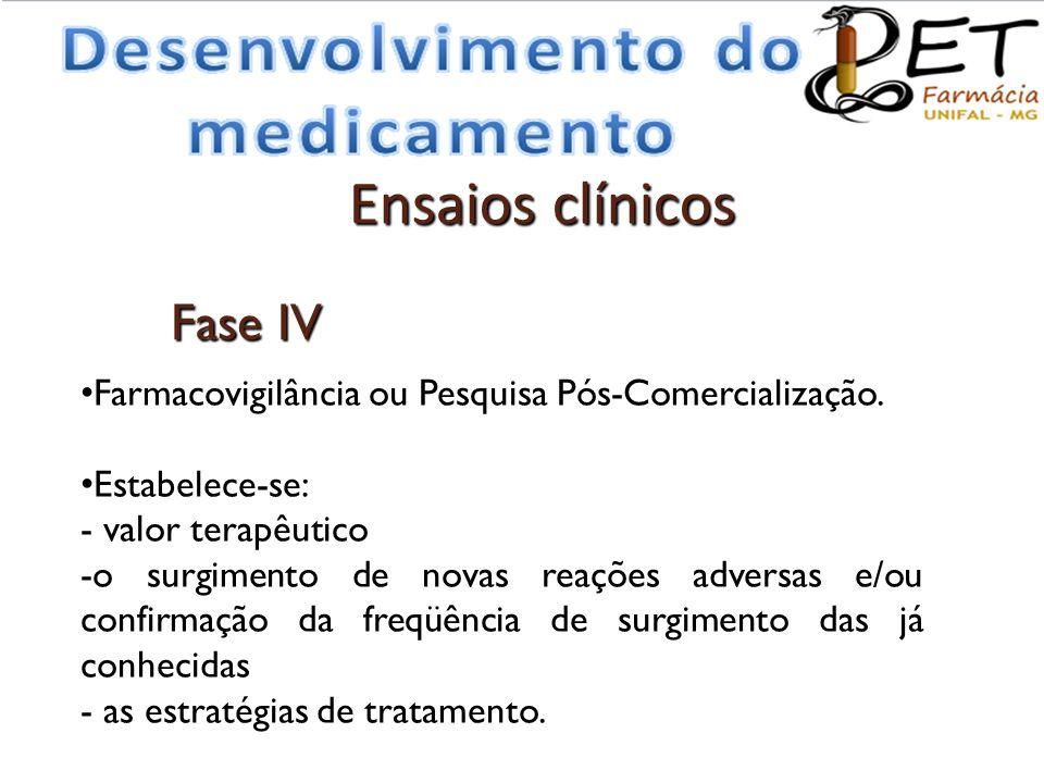 • Farmacovigilância ou Pesquisa Pós-Comercialização. • Estabelece-se: - valor terapêutico -o surgimento de novas reações adversas e/ou confirmação da