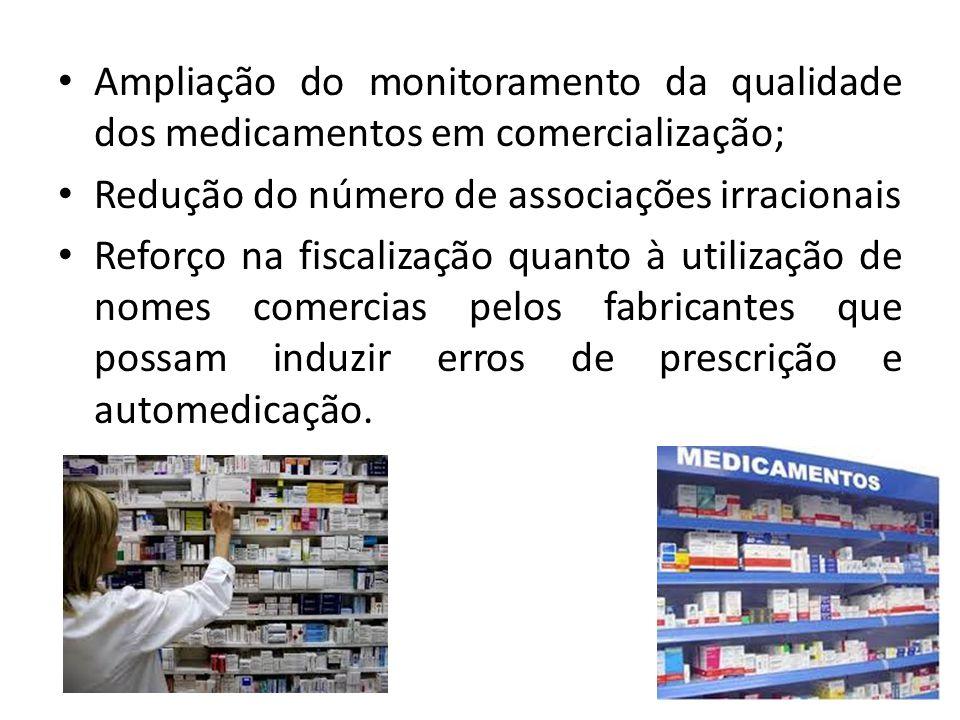 • Ampliação do monitoramento da qualidade dos medicamentos em comercialização; • Redução do número de associações irracionais • Reforço na fiscalizaçã