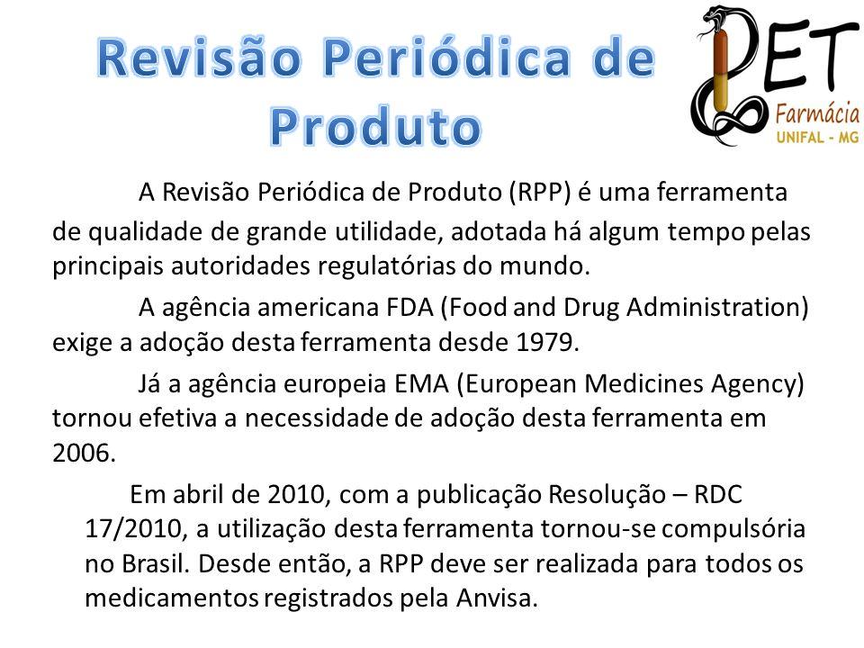 A Revisão Periódica de Produto (RPP) é uma ferramenta de qualidade de grande utilidade, adotada há algum tempo pelas principais autoridades regulatóri