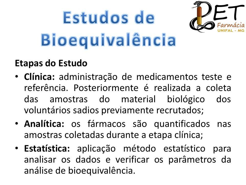 Etapas do Estudo • Clínica: administração de medicamentos teste e referência. Posteriormente é realizada a coleta das amostras do material biológico d