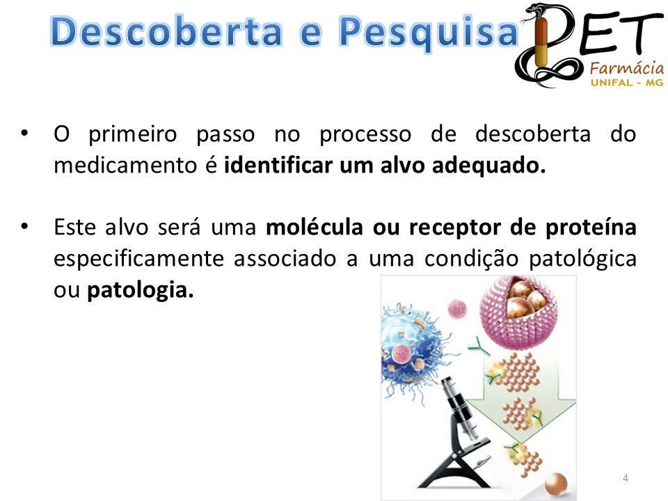 • O primeiro passo no processo de descoberta do medicamento é identificar um alvo adequado. • Este alvo será uma molécula ou receptor de proteína espe