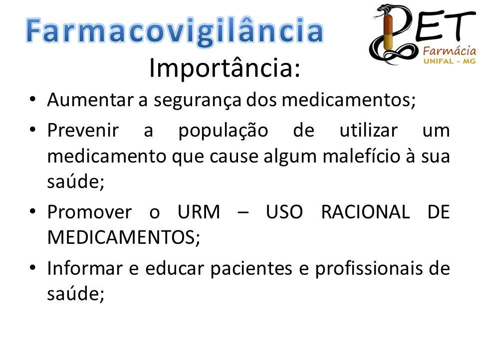 Importância: • Aumentar a segurança dos medicamentos; • Prevenir a população de utilizar um medicamento que cause algum malefício à sua saúde; • Promo