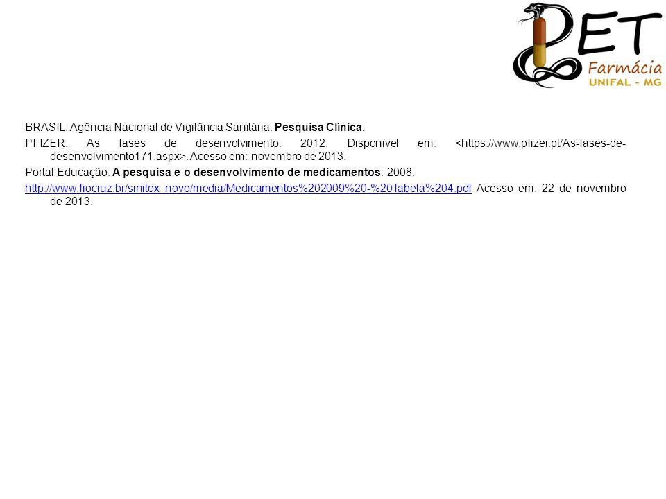BRASIL. Agência Nacional de Vigilância Sanitária. Pesquisa Clínica. PFIZER. As fases de desenvolvimento. 2012. Disponível em:. Acesso em: novembro de