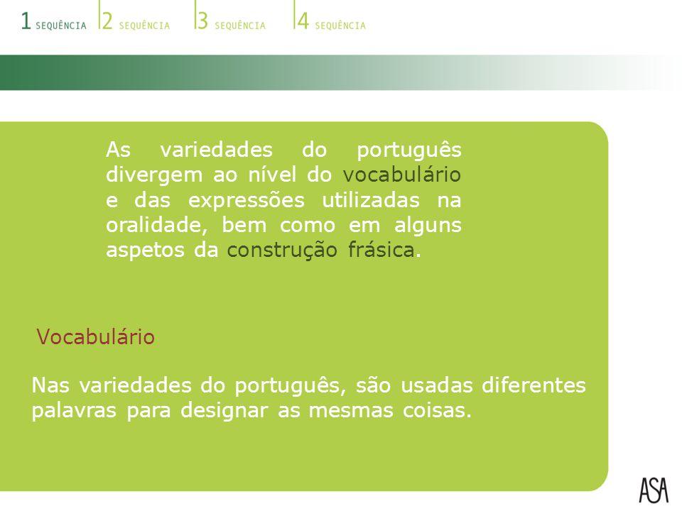 As variedades do português divergem ao nível do vocabulário e das expressões utilizadas na oralidade, bem como em alguns aspetos da construção frásica