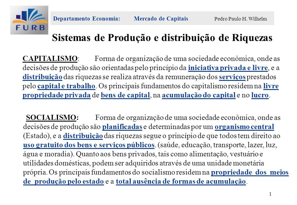 Departamento Economia: Mercado de Capitais Pedro Paulo H. Wilhelm 1 CAPITALISMO:Forma de organização de uma sociedade econômica, onde as decisões de p