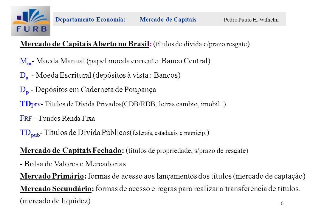 Departamento Economia: Mercado de Capitais Pedro Paulo H. Wilhelm 6 Mercado de Capitais Aberto no Brasil: ( títulos de dívida c/prazo resgate ) M m -