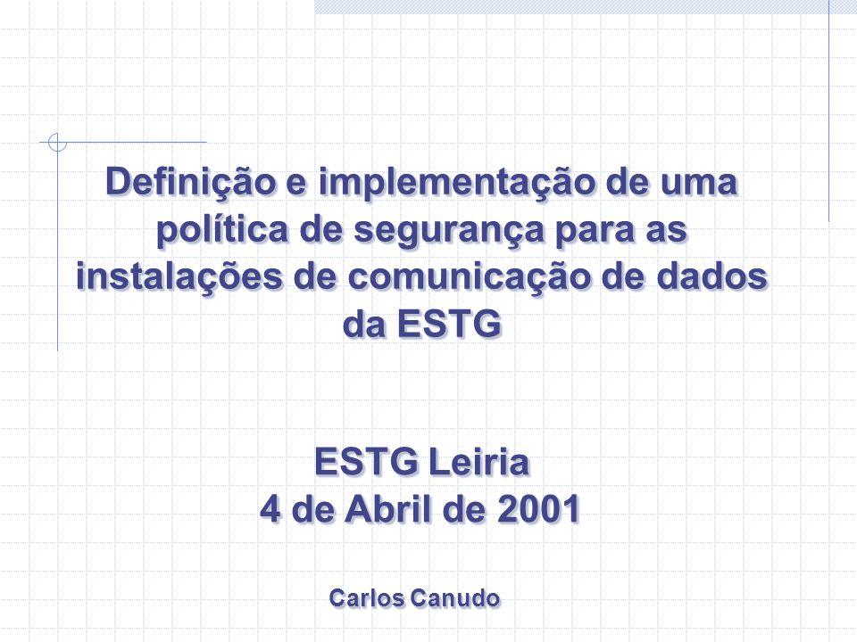 ESTG Leiria 4 de Abril de 2001 ESTG Leiria 4 de Abril de 2001 Definição e implementação de uma política de segurança para as instalações de comunicaçã