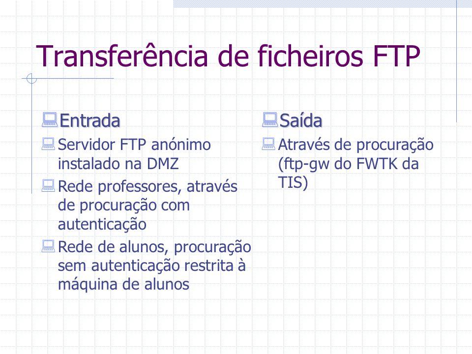 Transferência de ficheiros FTP  Saída  Através de procuração (ftp-gw do FWTK da TIS)  Entrada  Servidor FTP anónimo instalado na DMZ  Rede profes