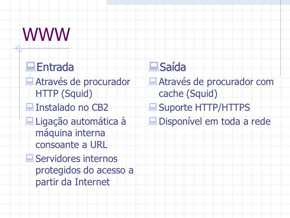 WWW  Entrada  Através de procurador HTTP (Squid)  Instalado no CB2  Ligação automática à máquina interna consoante a URL  Servidores internos pro