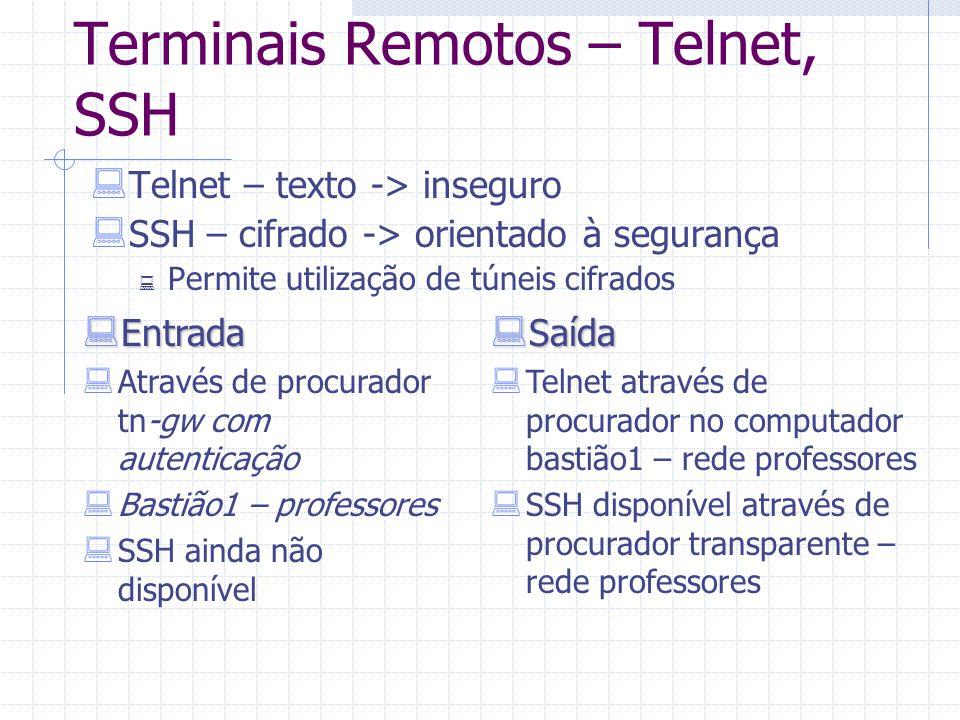 Terminais Remotos – Telnet, SSH  Telnet – texto -> inseguro  SSH – cifrado -> orientado à segurança  Permite utilização de túneis cifrados  Entrad