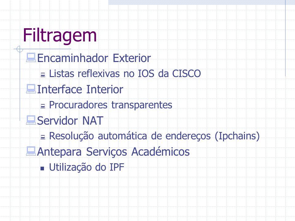 Filtragem  Encaminhador Exterior  Listas reflexivas no IOS da CISCO  Interface Interior  Procuradores transparentes  Servidor NAT  Resolução aut