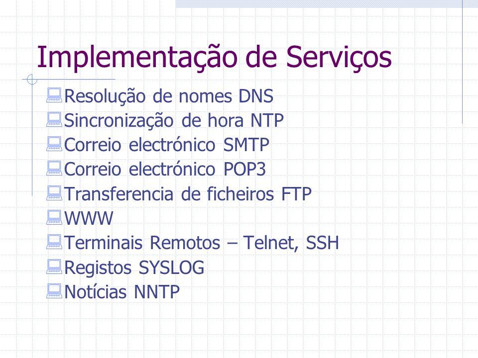 Implementação de Serviços  Resolução de nomes DNS  Sincronização de hora NTP  Correio electrónico SMTP  Correio electrónico POP3  Transferencia d