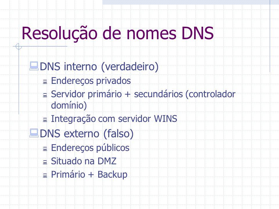 Resolução de nomes DNS  DNS interno (verdadeiro)  Endereços privados  Servidor primário + secundários (controlador domínio)  Integração com servid