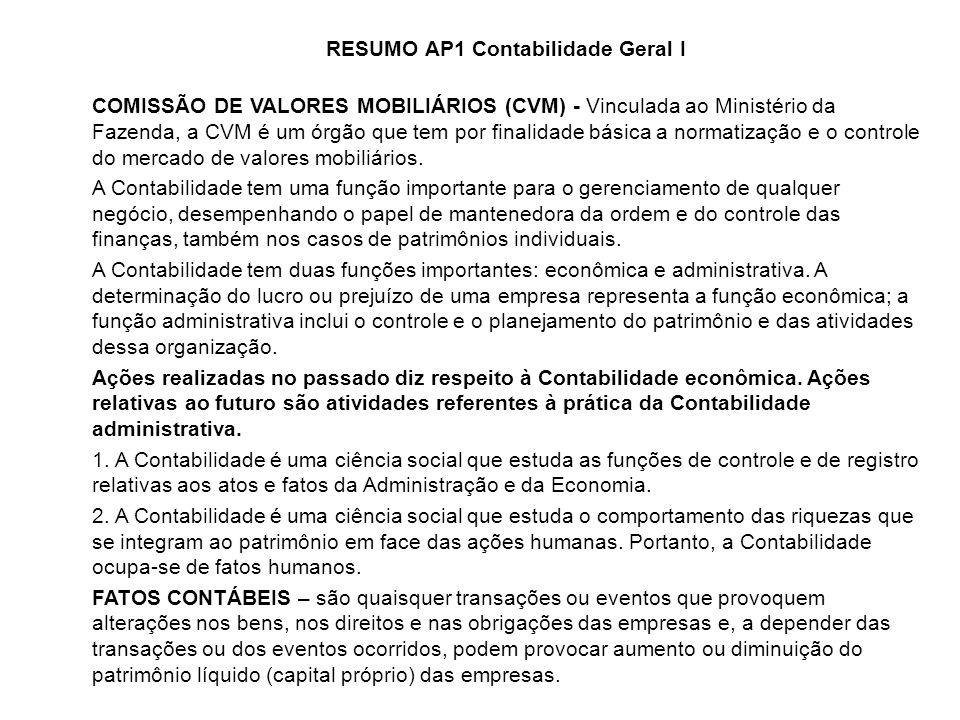 RESUMO AP1 Contabilidade Geral I COMISSÃO DE VALORES MOBILIÁRIOS (CVM) - Vinculada ao Ministério da Fazenda, a CVM é um órgão que tem por finalidade b