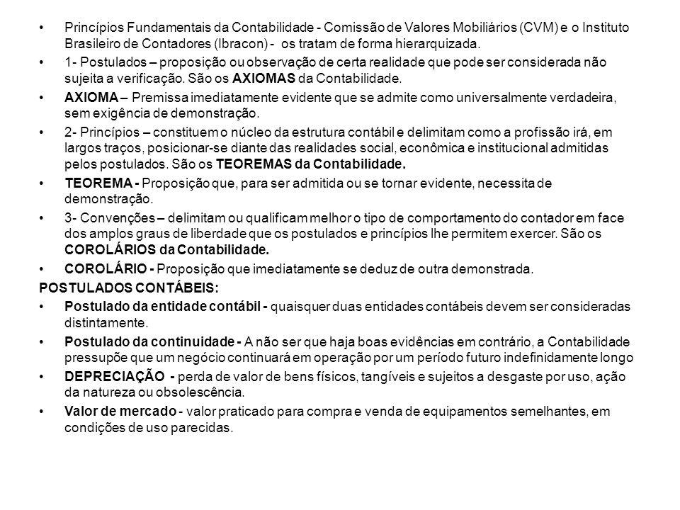 •Princípios Fundamentais da Contabilidade - Comissão de Valores Mobiliários (CVM) e o Instituto Brasileiro de Contadores (Ibracon) - os tratam de form