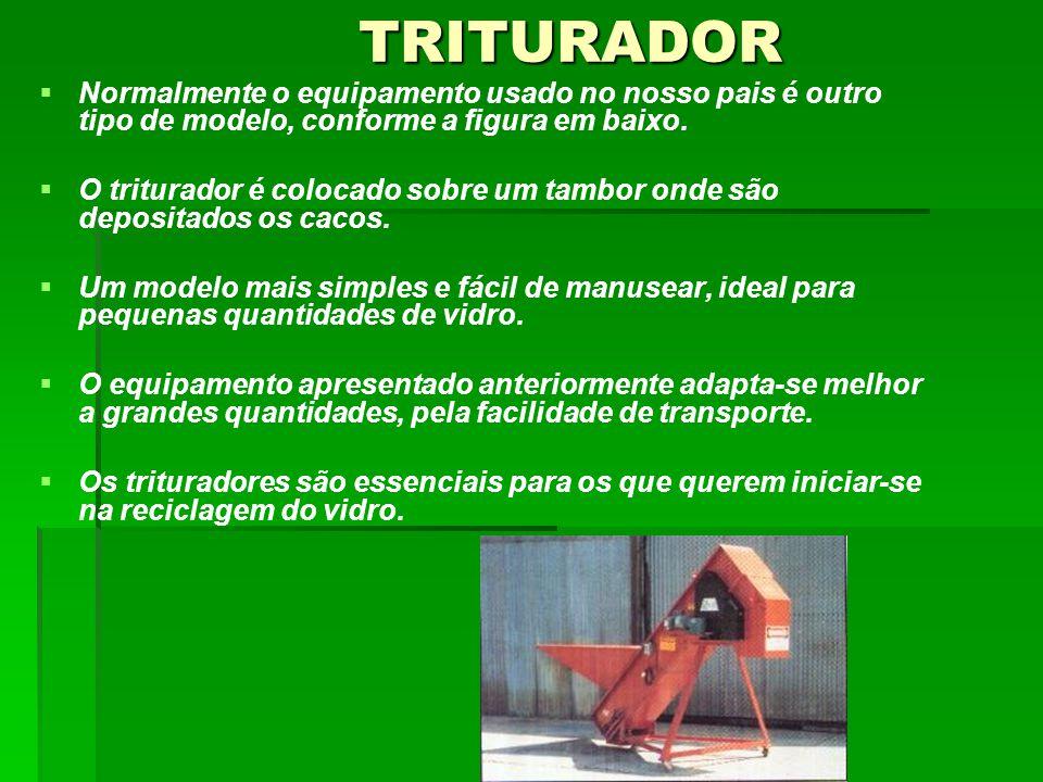 TRITURADOR TRITURADOR NNormalmente o equipamento usado no nosso pais é outro tipo de modelo, conforme a figura em baixo.