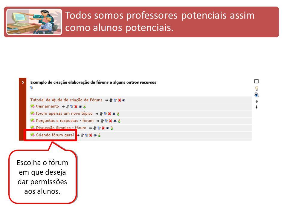 Escolha o fórum em que deseja dar permissões aos alunos.