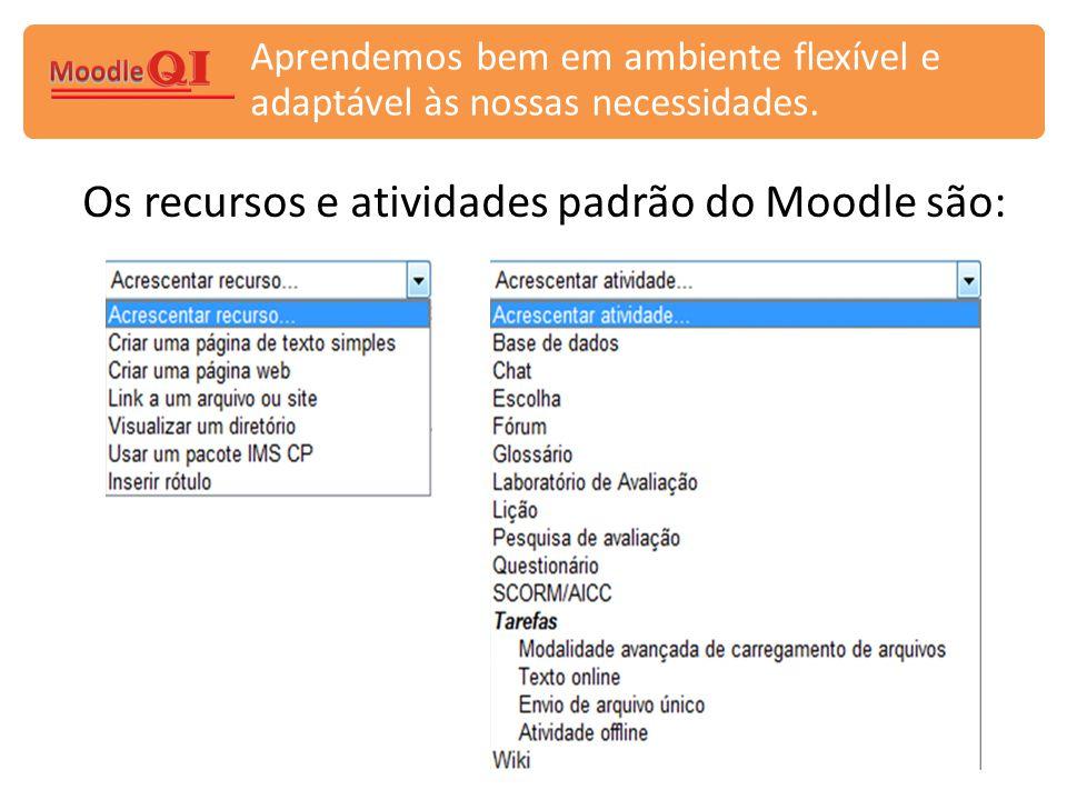 Os recursos e atividades padrão do Moodle são: