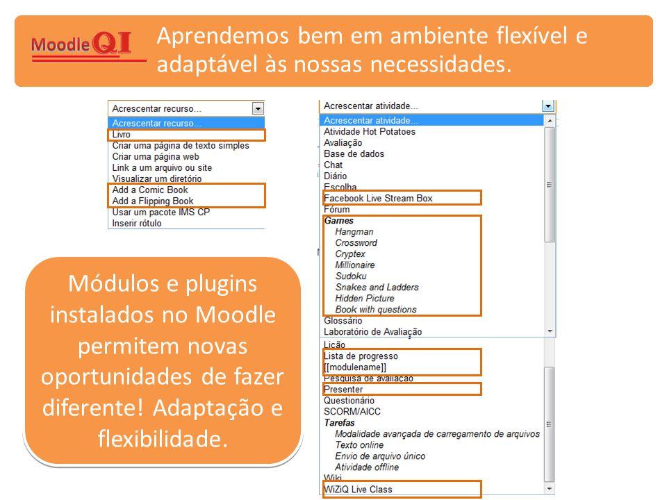Módulos e plugins instalados no Moodle permitem novas oportunidades de fazer diferente! Adaptação e flexibilidade.