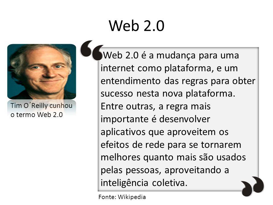 Web 2.0 Tim O´Reilly cunhou o termo Web 2.0 Web 2.0 é a mudança para uma internet como plataforma, e um entendimento das regras para obter sucesso nes