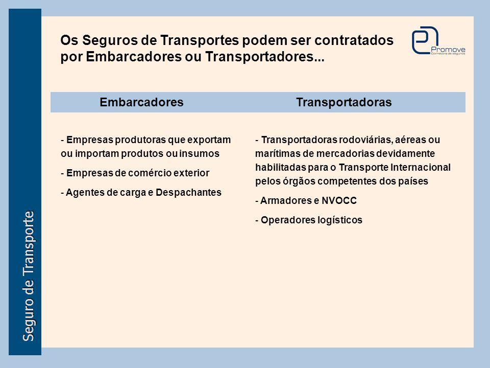 EmbarcadoresTransportadoras - Empresas produtoras que exportam ou importam produtos ou insumos - Empresas de comércio exterior - Agentes de carga e De
