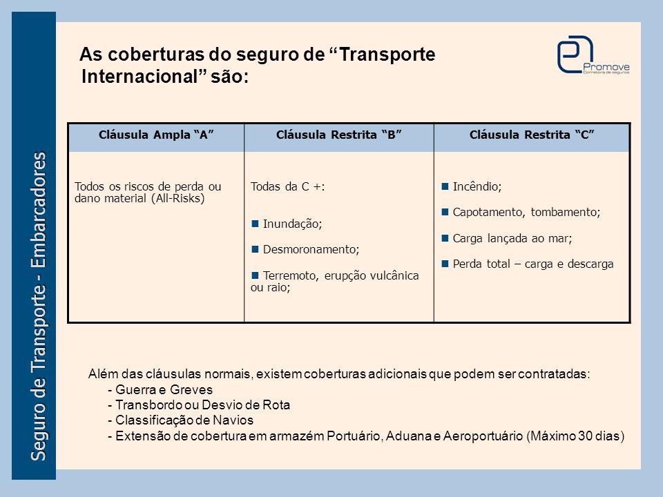"""Seguro de Transporte - Embarcadores As coberturas do seguro de """"Transporte Internacional"""" são: Cláusula Ampla """"A"""" Todos os riscos de perda ou dano mat"""