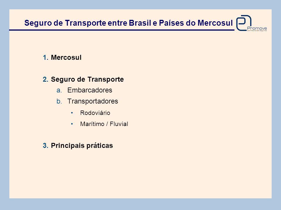 1.Mercosul 2.Seguro de Transporte a. Embarcadores b. Transportadores •Rodoviário •Marítimo / Fluvial 3.Principais práticas Seguro de Transporte entre