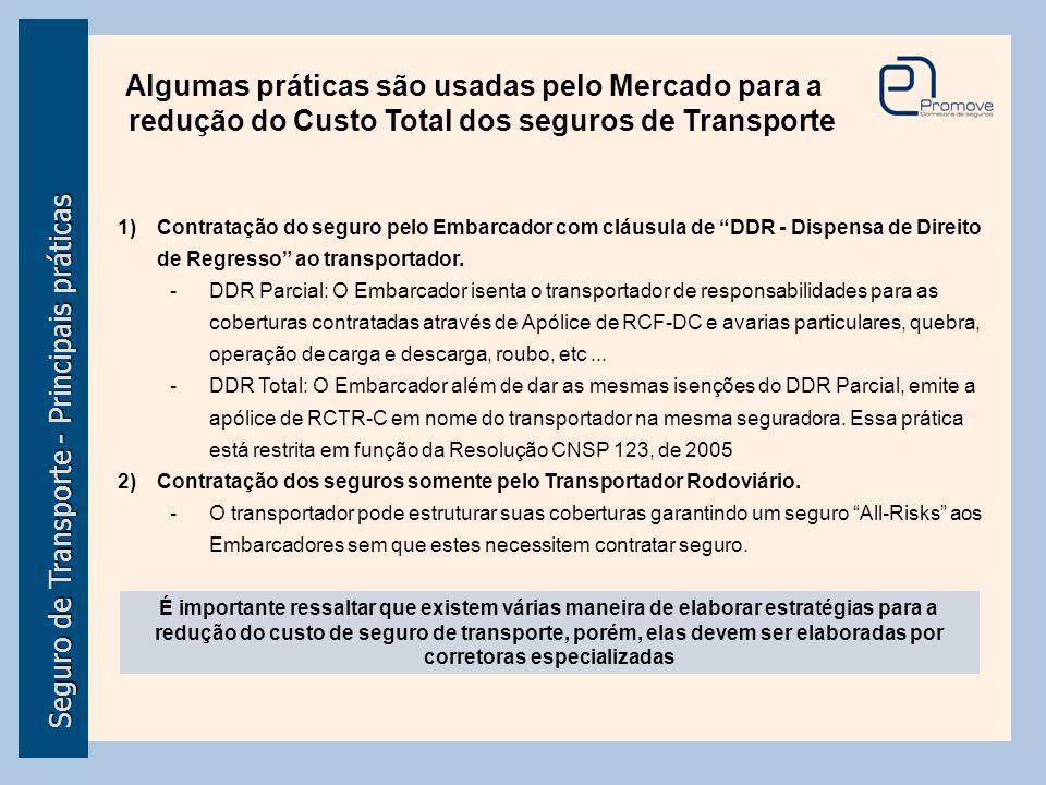 Seguro de Transporte - Principais práticas Algumas práticas são usadas pelo Mercado para a redução do Custo Total dos seguros de Transporte 1)Contrata
