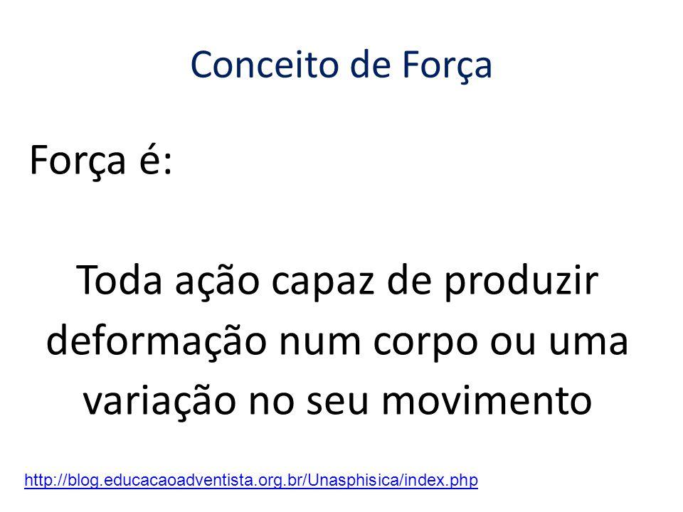 Conceito de Força Força é: Toda ação capaz de produzir deformação num corpo ou uma variação no seu movimento http://blog.educacaoadventista.org.br/Unasphisica/index.php