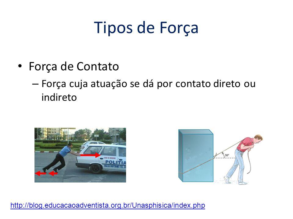 Tipos de Força • Força de Contato – Força cuja atuação se dá por contato direto ou indireto http://blog.educacaoadventista.org.br/Unasphisica/index.php