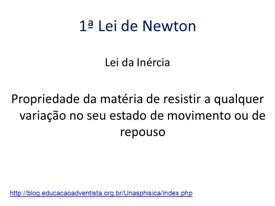 1ª Lei de Newton Lei da Inércia Propriedade da matéria de resistir a qualquer variação no seu estado de movimento ou de repouso http://blog.educacaoadventista.org.br/Unasphisica/index.php