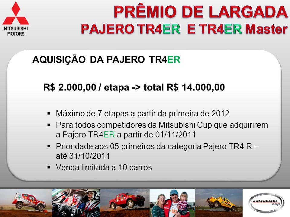 AQUISIÇÃO DA PAJERO TR4ER R$ 2.000,00 / etapa -> total R$ 14.000,00  Máximo de 7 etapas a partir da primeira de 2012  Para todos competidores da Mit