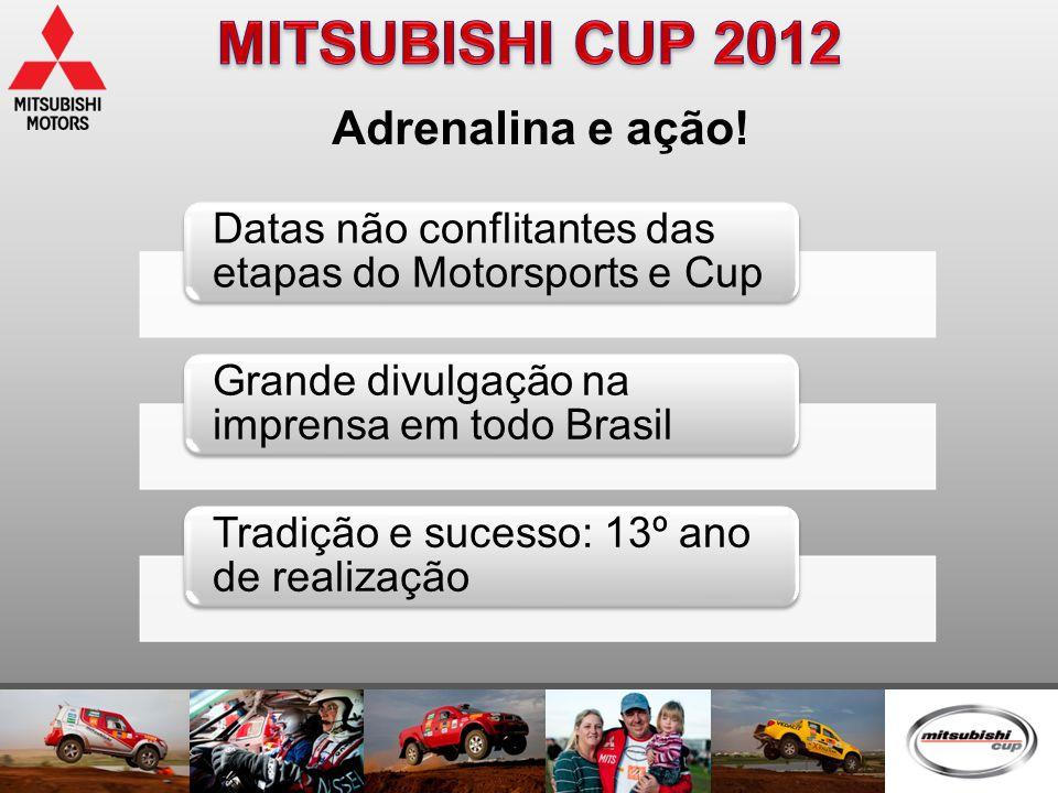 Adrenalina e ação! Datas não conflitantes das etapas do Motorsports e Cup Grande divulgação na imprensa em todo Brasil Tradição e sucesso: 13º ano de