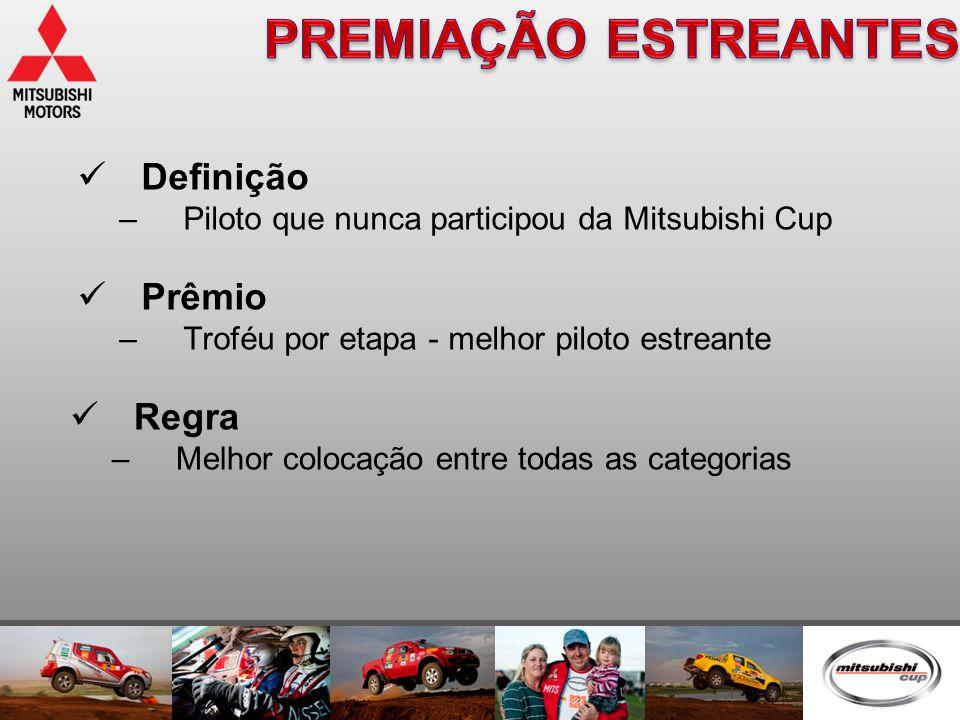 Definição –Piloto que nunca participou da Mitsubishi Cup  Prêmio –Troféu por etapa - melhor piloto estreante  Regra –Melhor colocação entre todas