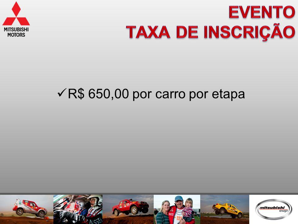  R$ 650,00 por carro por etapa