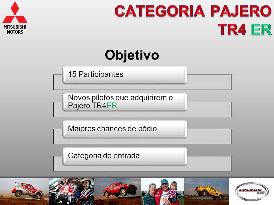 Objetivo 15 Participantes Novos pilotos que adquirirem o Pajero TR4ER Maiores chances de pódioCategoria de entrada