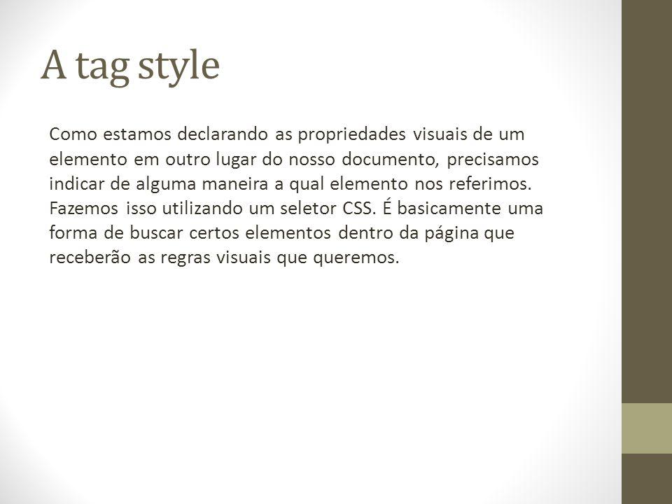 A tag style Como estamos declarando as propriedades visuais de um elemento em outro lugar do nosso documento, precisamos indicar de alguma maneira a qual elemento nos referimos.