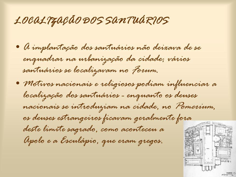 SACELLUM •Primeiramente era um recinto sagrado vedado por um muro; acabou igualmente por designar um templo pequeno.