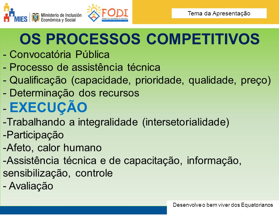 Desarrolla el Buen Vivir de los Ecuatorianos Tema de la presentación OS PROCESSOS COMPETITIVOS - Convocatória Pública - Processo de assistência técnic