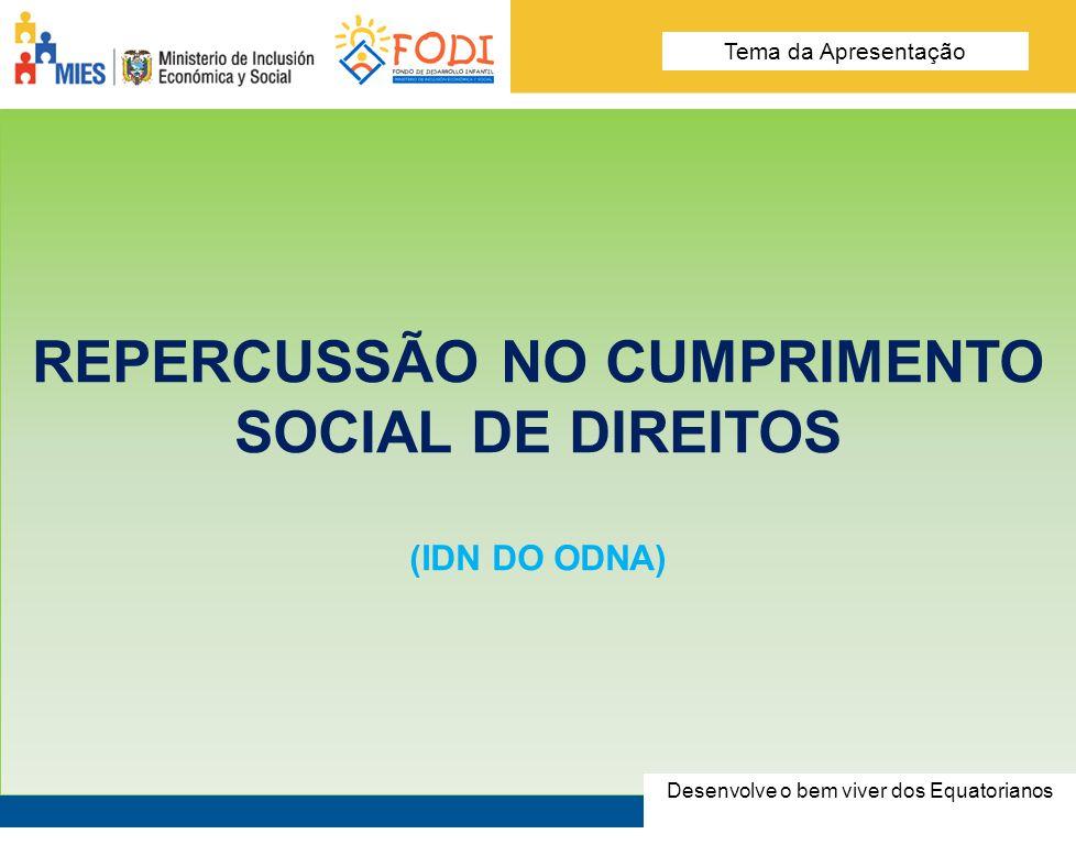 Desarrolla el Buen Vivir de los Ecuatorianos Tema de la presentación REPERCUSSÃO NO CUMPRIMENTO SOCIAL DE DIREITOS (IDN DO ODNA) Desenvolve o bem vive