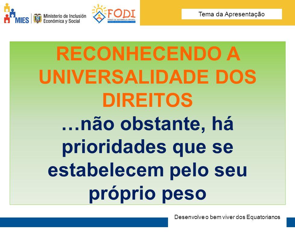 Desarrolla el Buen Vivir de los Ecuatorianos Tema de la presentación RECONHENCENDO QUE A VULNERABILIDADE EM MENINAS E MENINOS OBEDECE À UMA MULTIDIVERSIDADE DE FATORES..por diversas razões, no Equador - com recursos públicos, começamos pelos mais pobres (pobreza material) Desenvolve o bem viver dos Equatorianos Tema da Apresentação