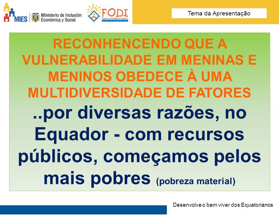 Desarrolla el Buen Vivir de los Ecuatorianos Tema de la presentación RECONHENCENDO QUE A VULNERABILIDADE EM MENINAS E MENINOS OBEDECE À UMA MULTIDIVER