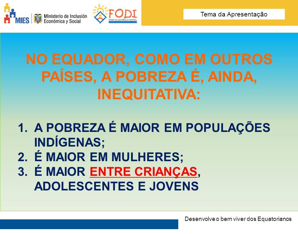 Desarrolla el Buen Vivir de los Ecuatorianos Tema de la presentación NO EQUADOR 5 DE CADA 10 CRIANÇAS SE ENCONTRAM EM SITUAÇÃO DE POBREZA.