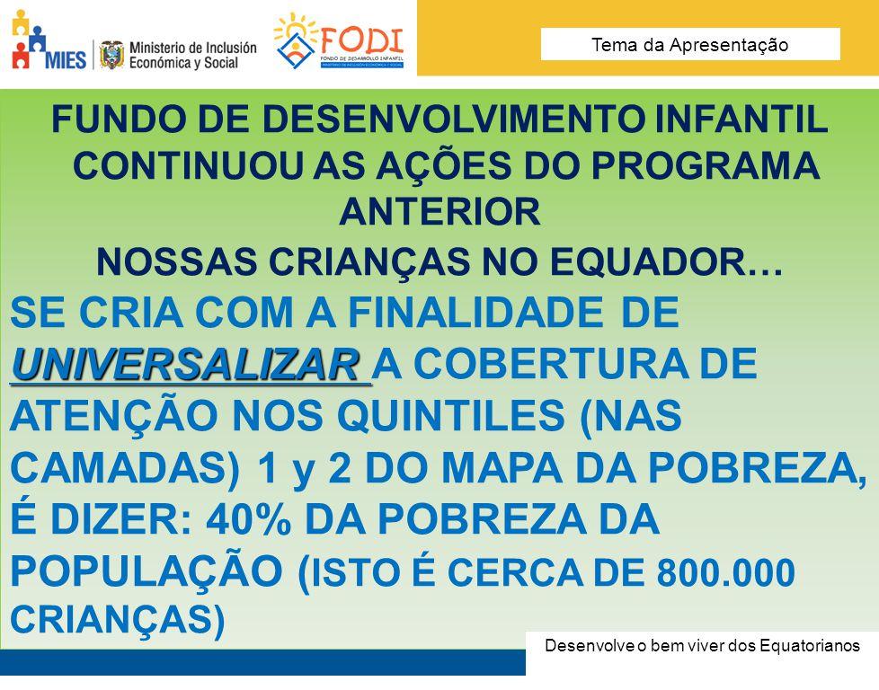 Desarrolla el Buen Vivir de los Ecuatorianos Tema de la presentación FUNDO DE DESENVOLVIMENTO INFANTIL CONTINUOU AS AÇÕES DO PROGRAMA ANTERIOR NOSSAS