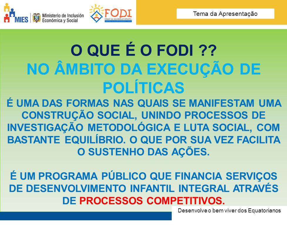 Desarrolla el Buen Vivir de los Ecuatorianos Tema de la presentación COMO O FAZ.
