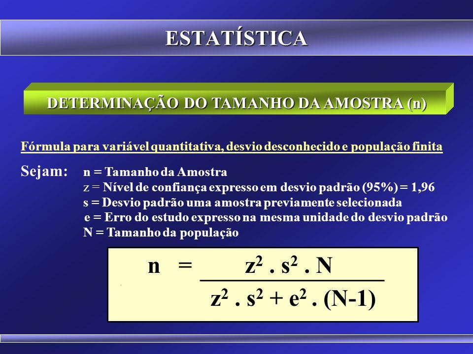 ESTATÍSTICA Fórmula para variável quantitativa, desvio conhecido e população finita Sejam: n = Tamanho da Amostra z = Nível de confiança expresso em d